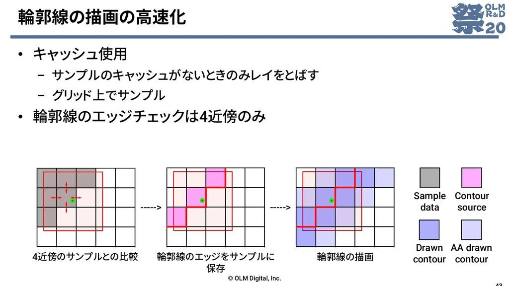 輪郭線の描画の高速化 • キャッシュ使用 – サンプルのキャッシュがないときのみレイをとばす ...