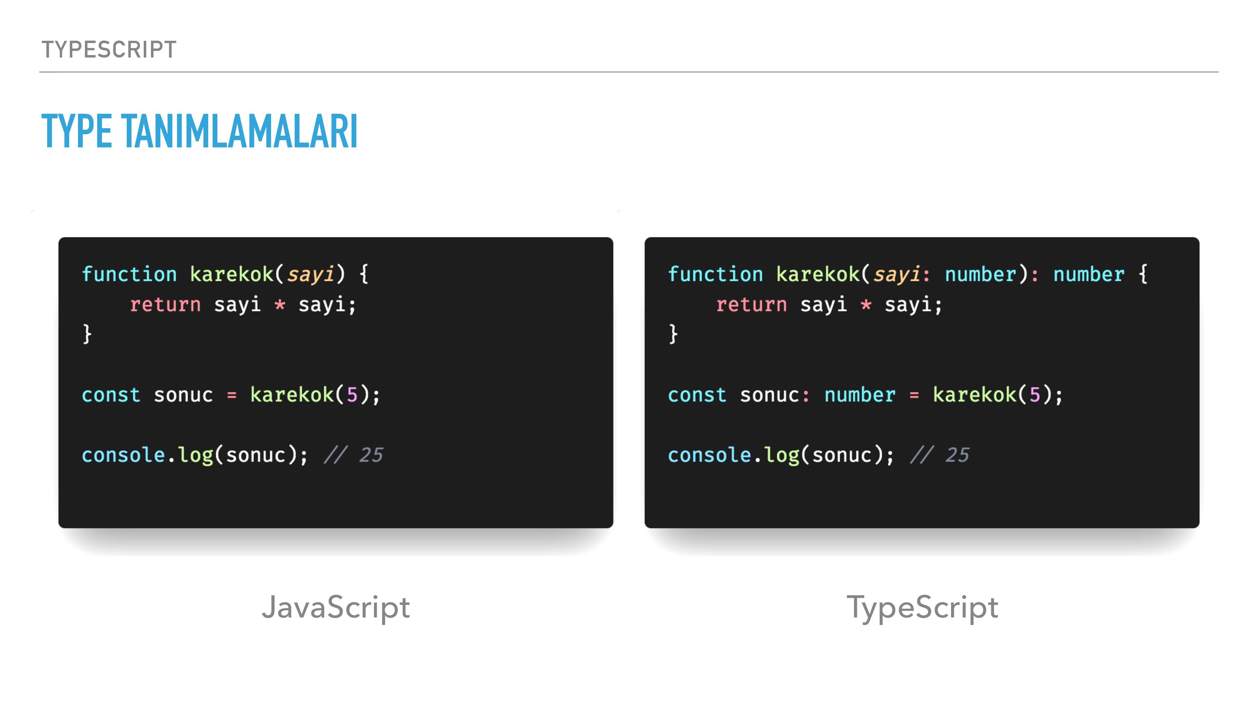 TYPESCRIPT TYPE TANIMLAMALARI JavaScript TypeSc...