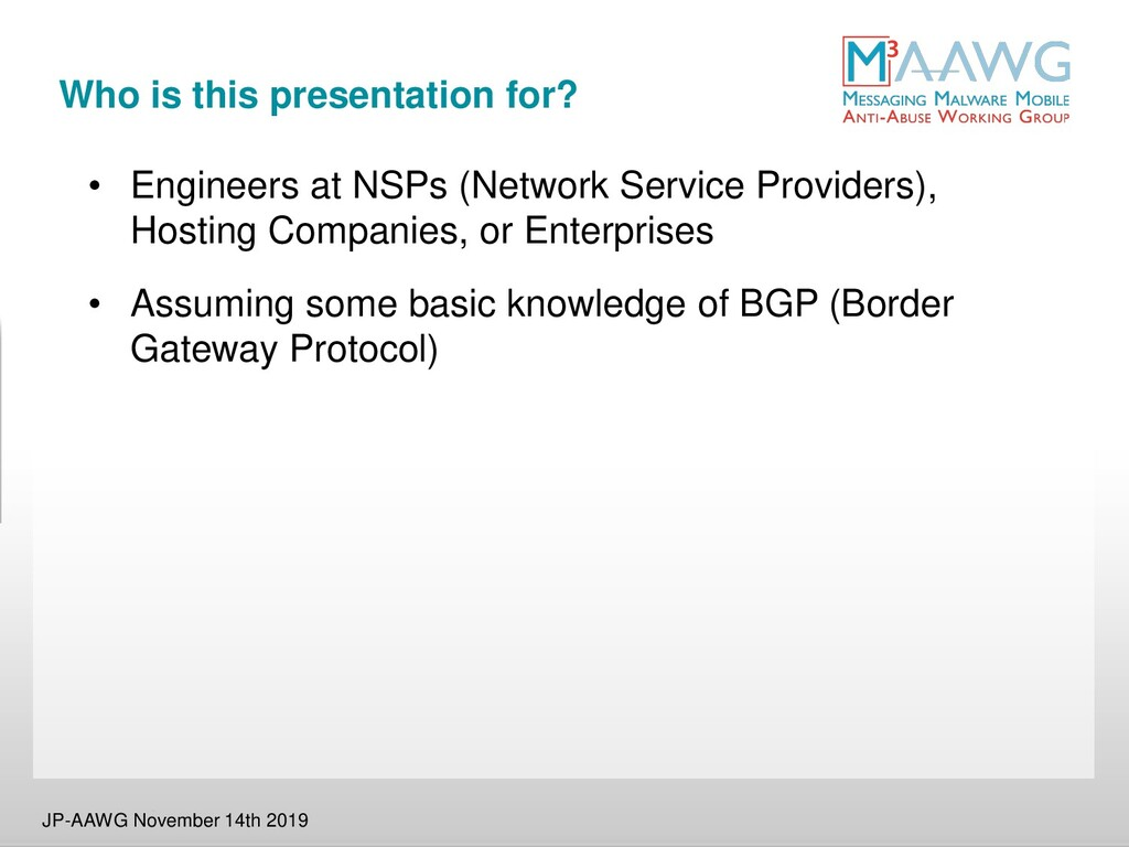 Who is this presentation for? • Engineers at NS...
