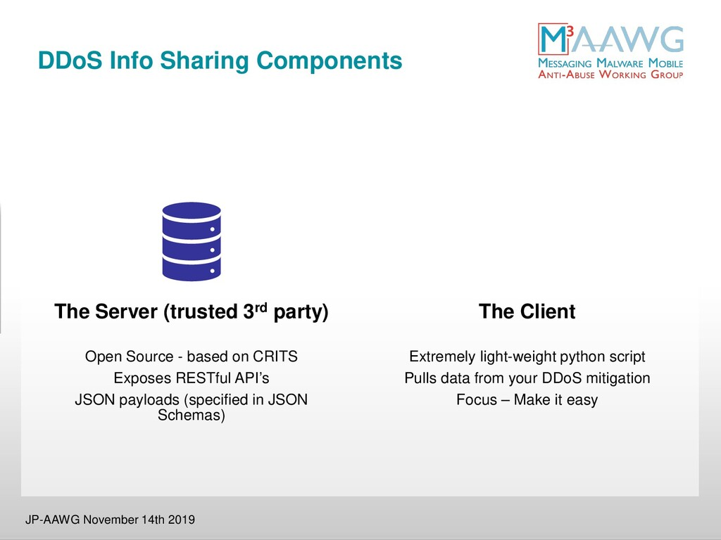 DDoS Info Sharing Components JP-AAWG November 1...