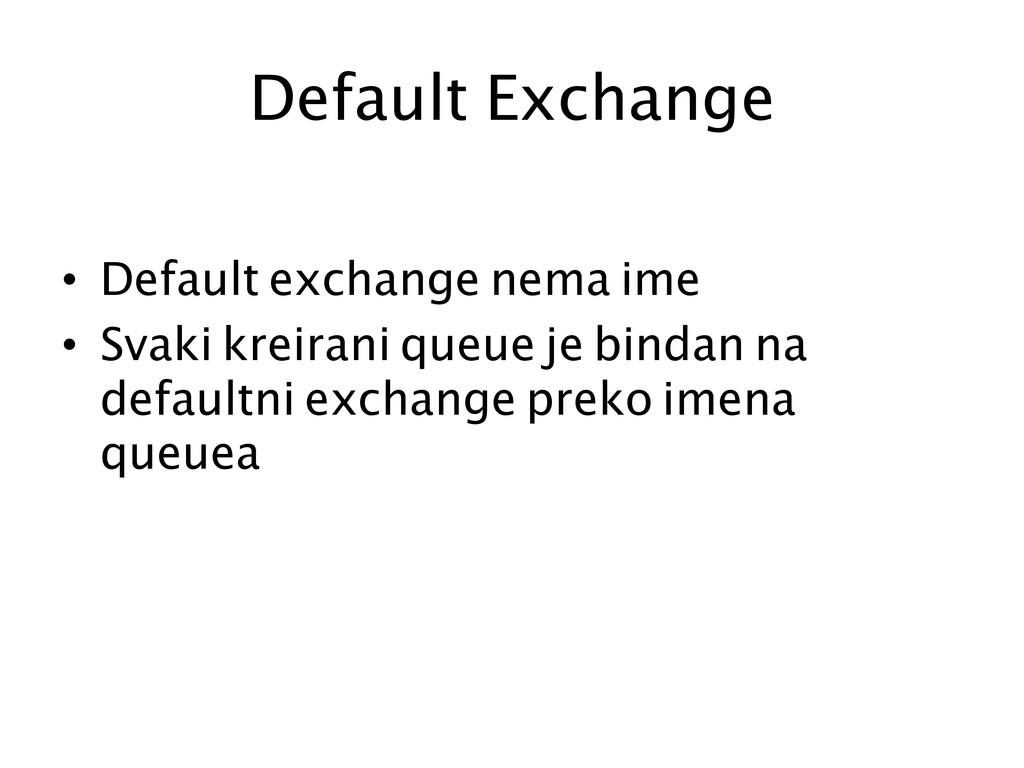 Default Exchange  • Default exchange nema i...