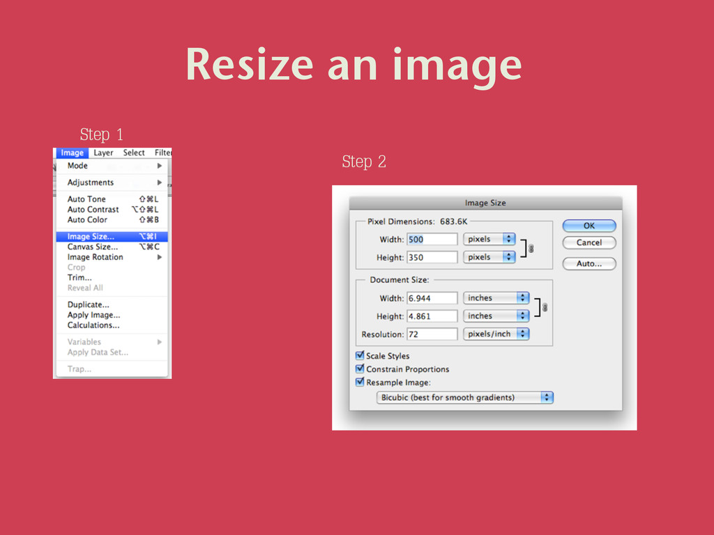 Resize an image Step 1 Step 2