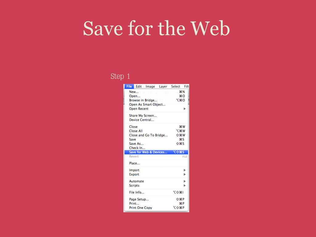 Save for the Web Step 1