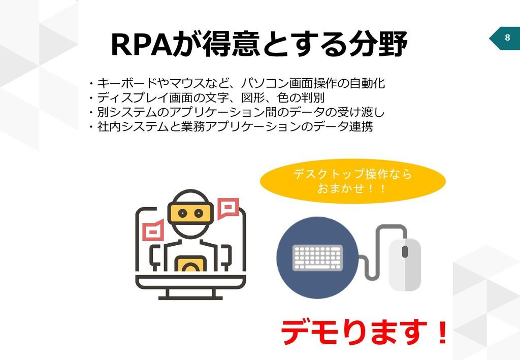 8 RPAが得意とする分野 ・キーボードやマウスなど、パソコン画面操作の自動化 ・ディスプレイ...