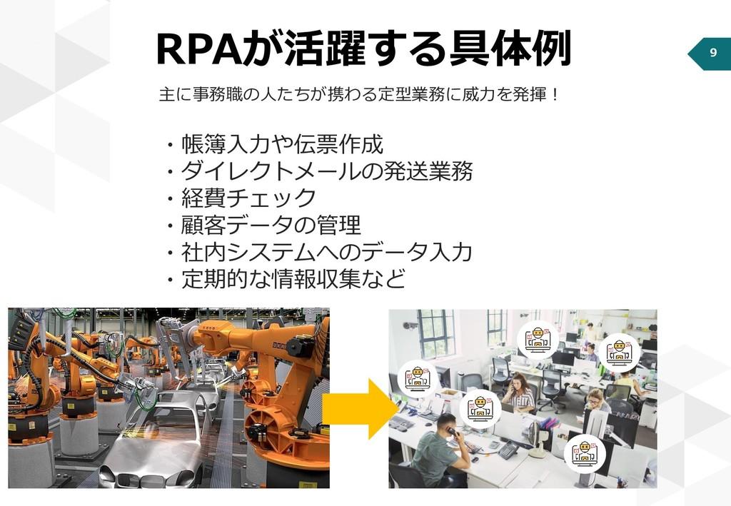 9 RPAが活躍する具体例 主に事務職の人たちが携わる定型業務に威力を発揮! ・帳簿入力や伝票...