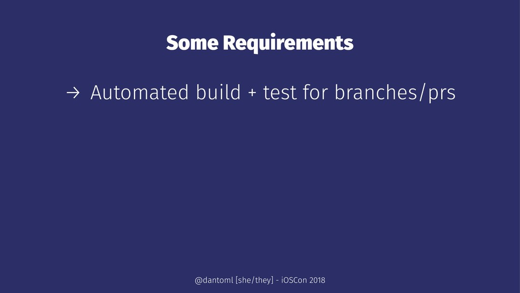 Some Requirements → Automated build + test for ...