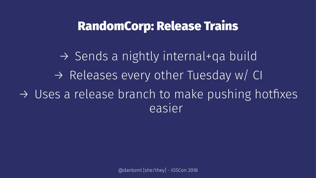 RandomCorp: Release Trains → Sends a nightly in...