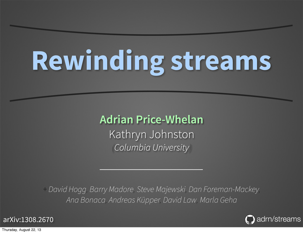 Rewinding streams Adrian Price-Whelan Kathryn J...