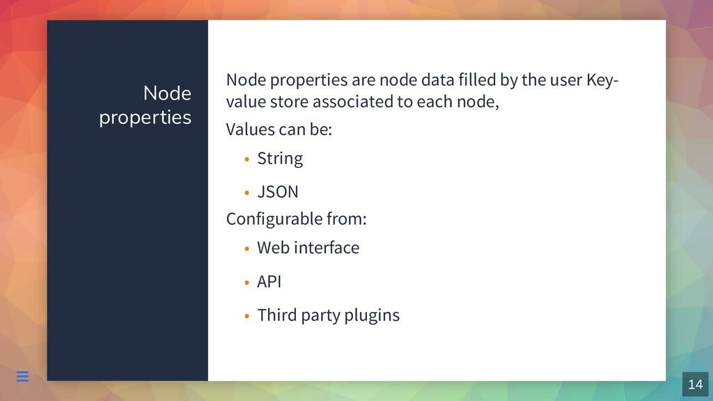 Node properties Node properties are node data f...