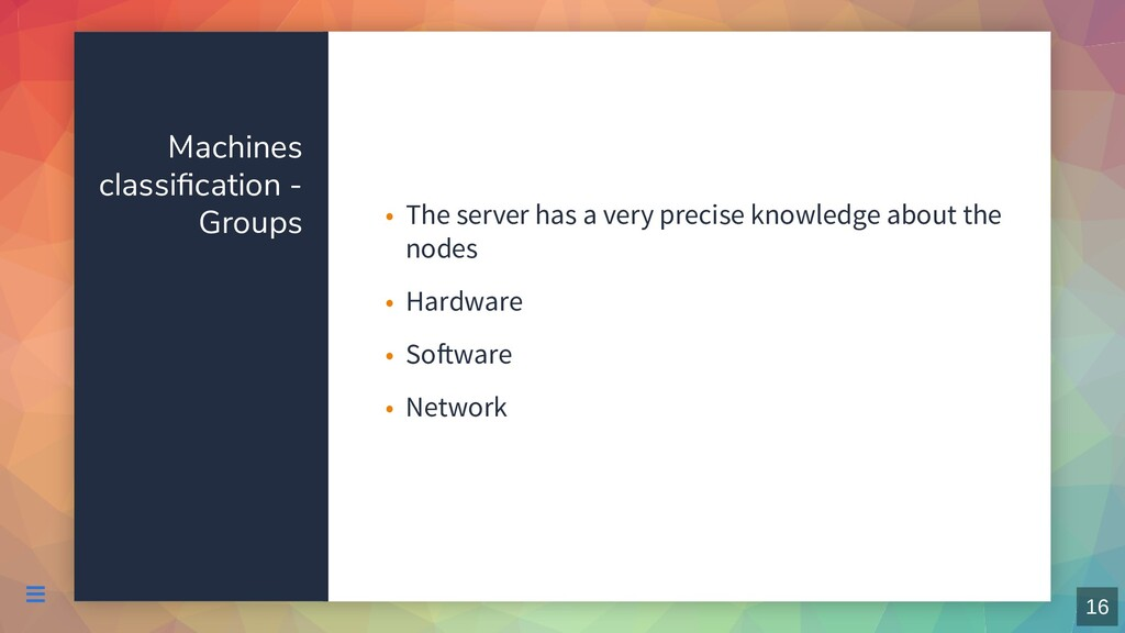 Machines classification - Groups The server has ...