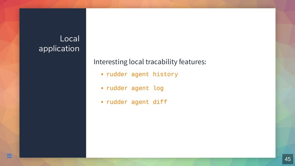 Local application Interesting local tracability...