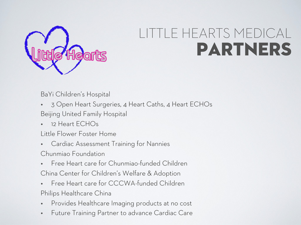 PARTNERS LITTLE HEARTS MEDICAL BaYi Children's ...