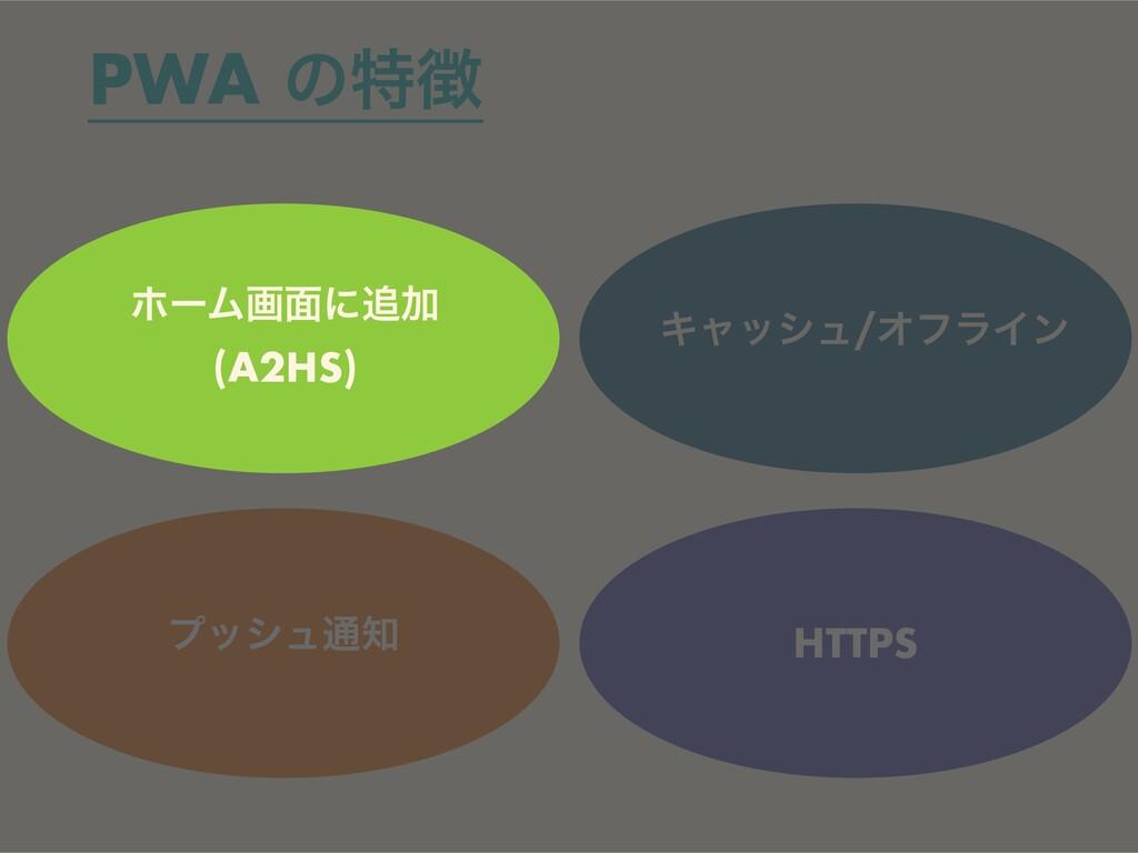 ϓογϡ௨ Ωϟογϡ/ΦϑϥΠϯ HTTPS PWA ͷಛ ϗʔϜը໘ʹՃ   (A2...