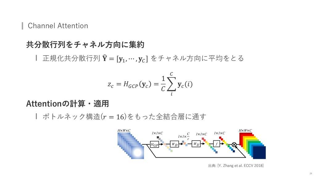 Channel Attention 共分散⾏列をチャネル⽅向に集約 正規化共分散⾏列 B  =...