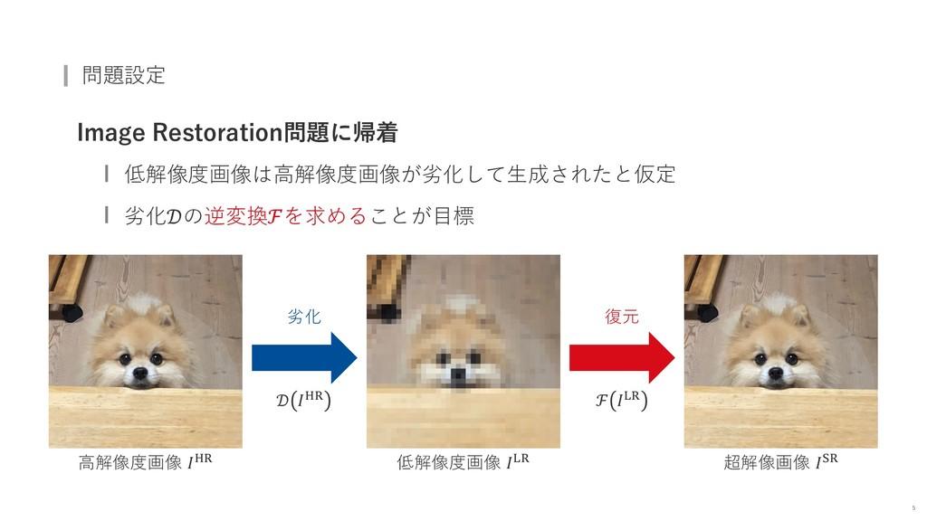 問題設定 Image Restoration問題に帰着 低解像度画像は⾼解像度画像が劣化して⽣...