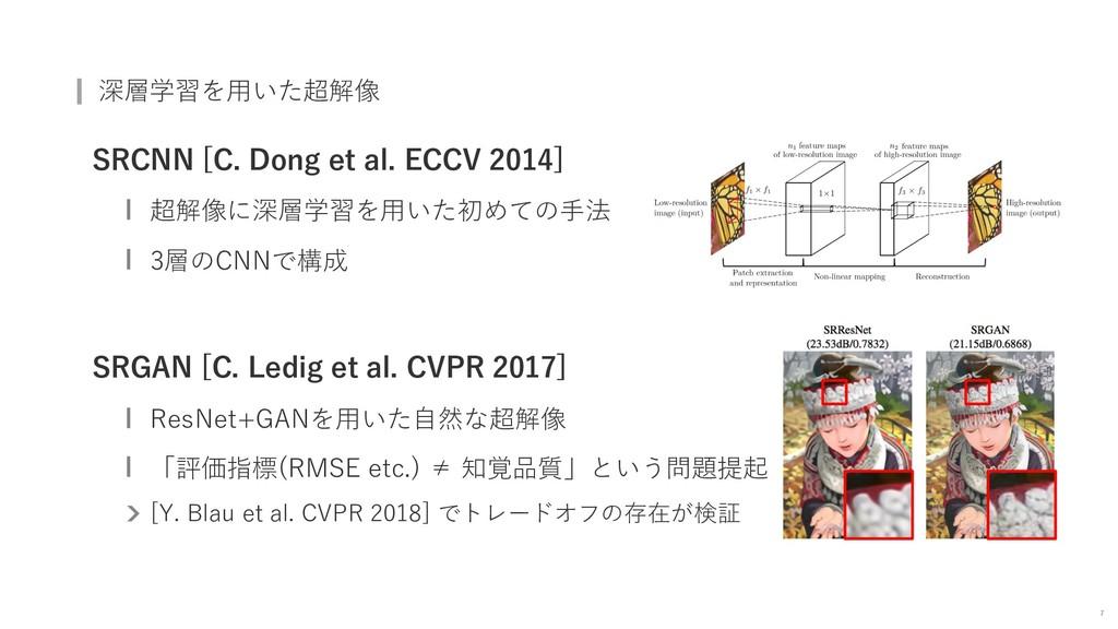 深層学習を⽤いた超解像 SRCNN [C. Dong et al. ECCV 2014] 超解...
