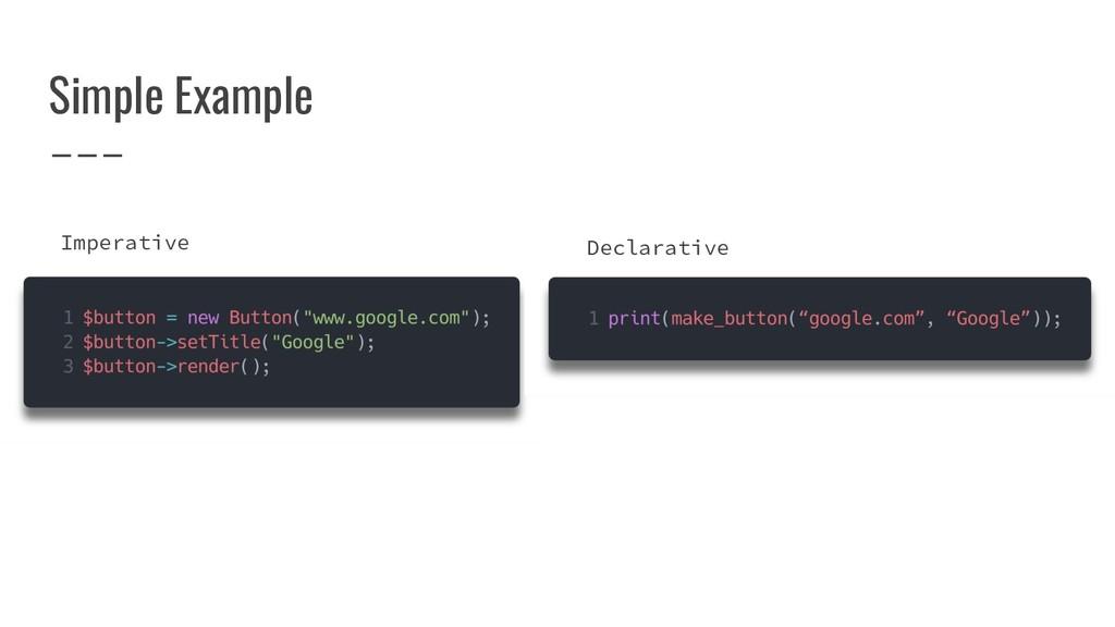 Simple Example Imperative Declarative