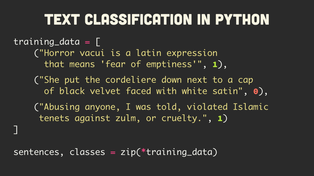 Text Classification in Python training_data = [...