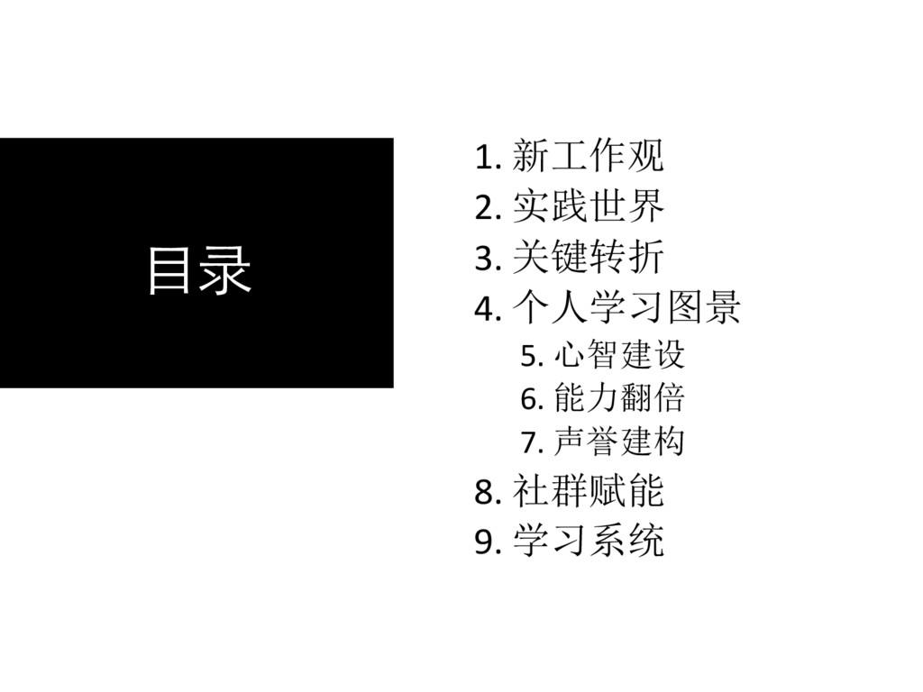 ⺫录 1. 新工作观 2. 实践世界 3. 关键转折 4. 个人学习图景 5. 心智建设 6....