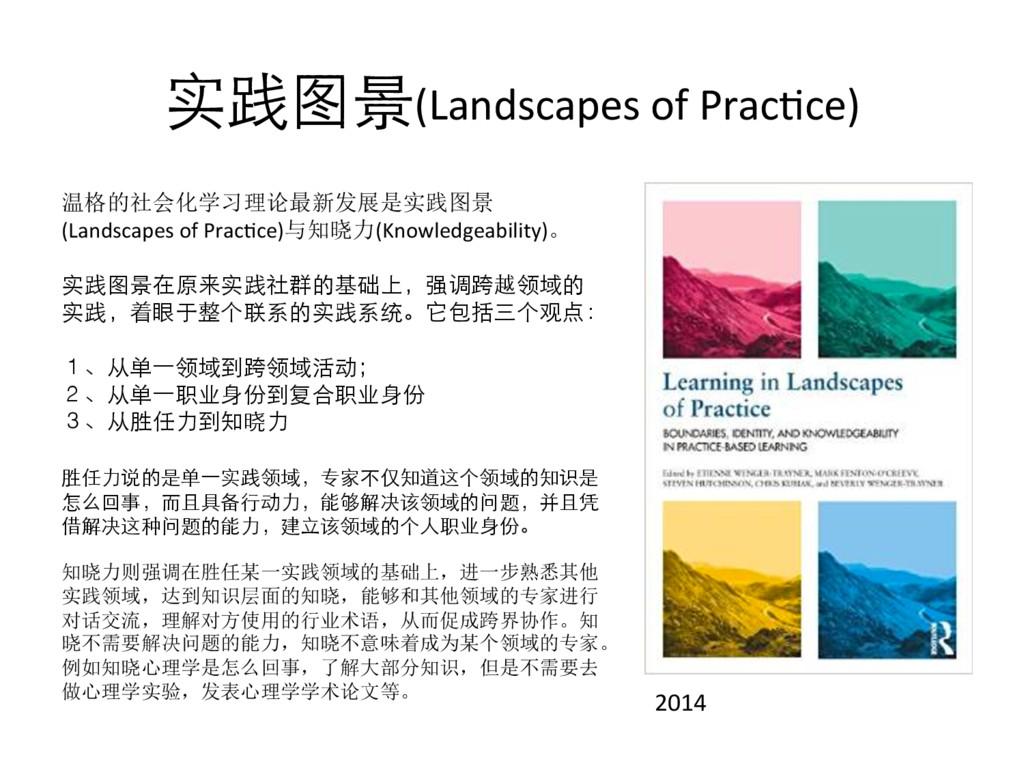 实践图景(Landscapes of PracYce) 2014 温格的社会化学习理论最新发展...