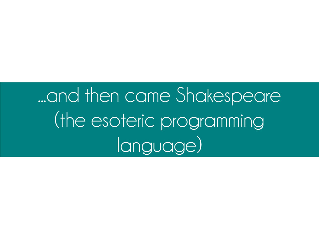 ...and then came Shakespeare (the esoteric prog...