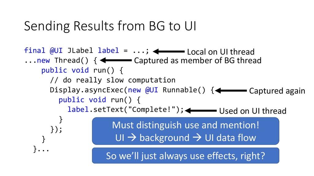 Sending Results from BG to UI final @UI JLabel ...