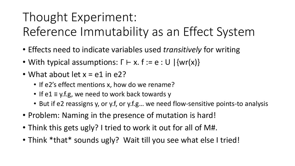 Thought Experiment: Reference Immutability as a...