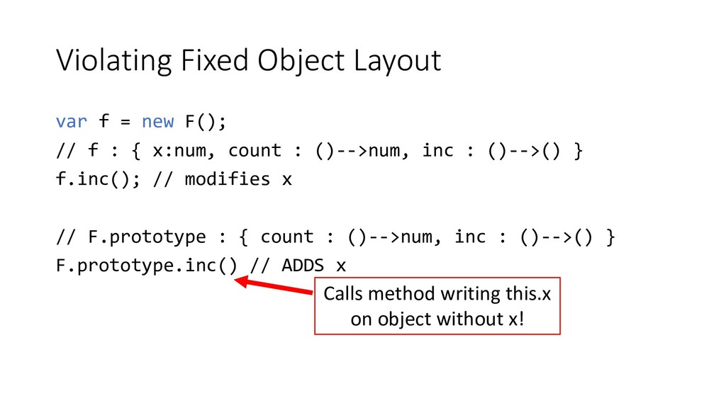Violating Fixed Object Layout var f = new F(); ...