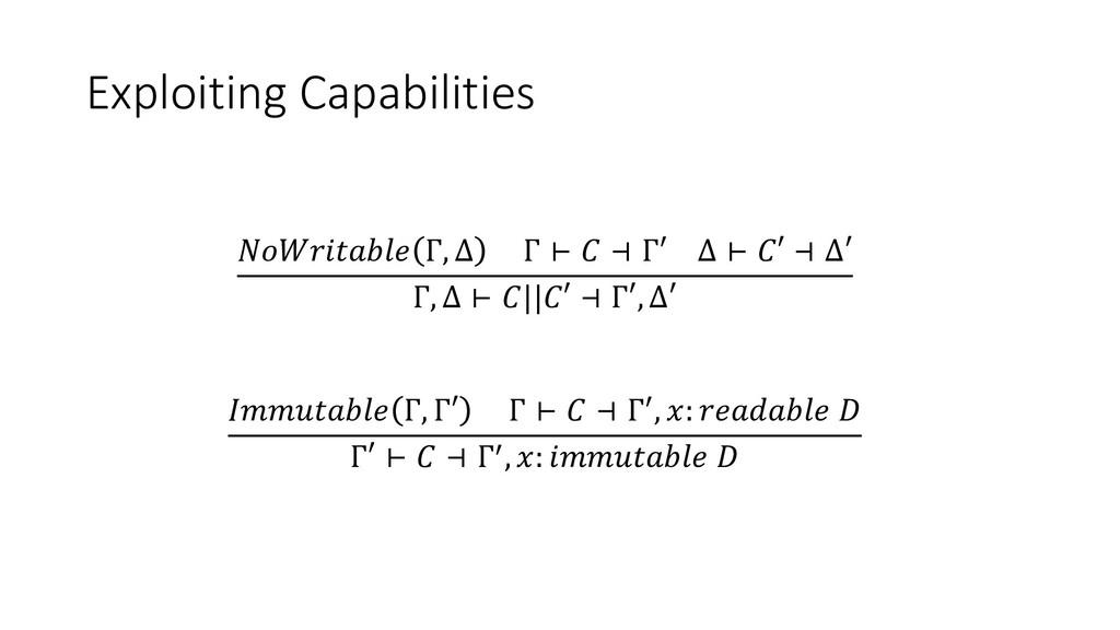 Exploiting Capabilities  Г, ∆ Г ⊢  ⊣ Г′ ∆ ⊢  ⊣ ...