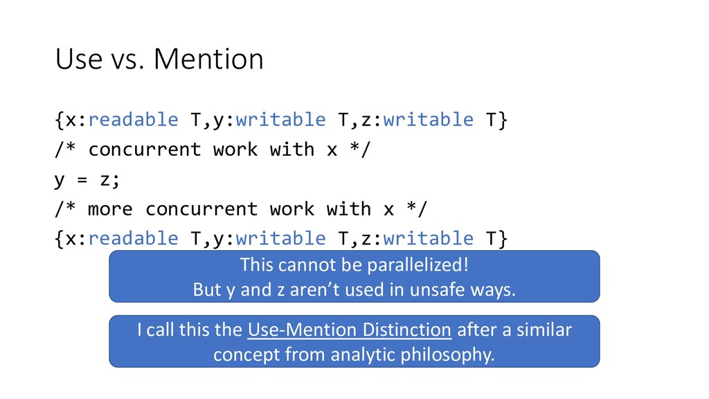 Use vs. Mention {x:readable T,y:writable T,z:wr...