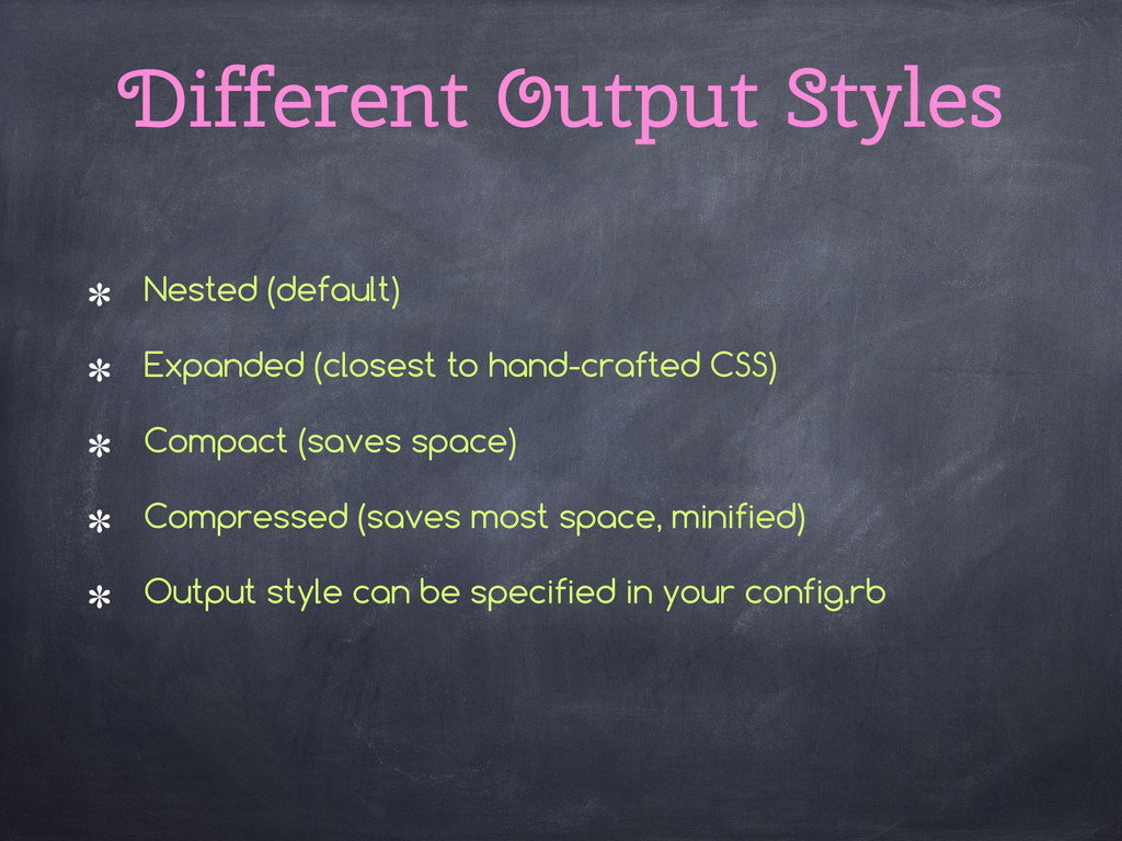 Different Output Styles Nested (default) Expand...