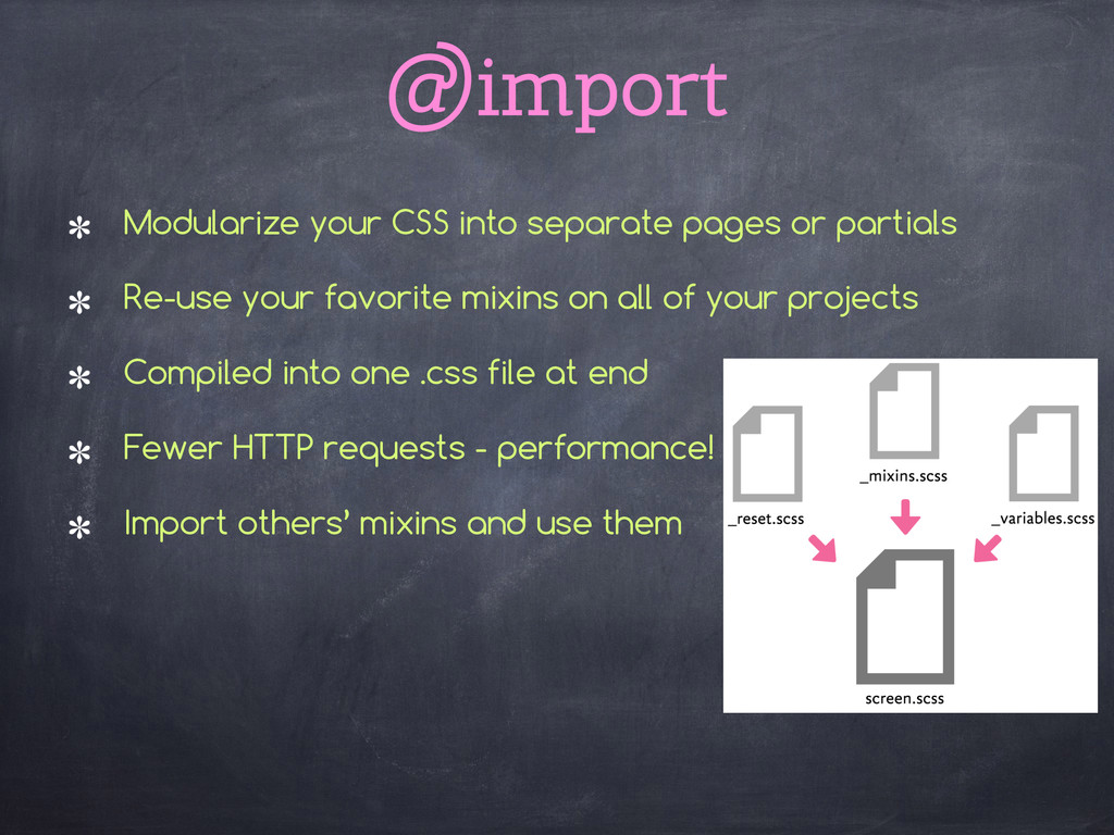 @import Modularize your CSS into separate pages...