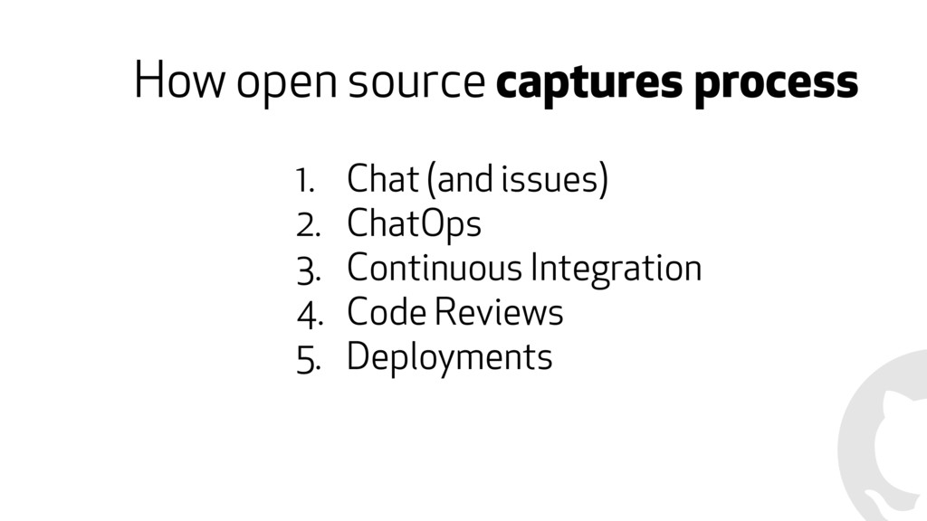 How open source captures process 1. Chat (and i...