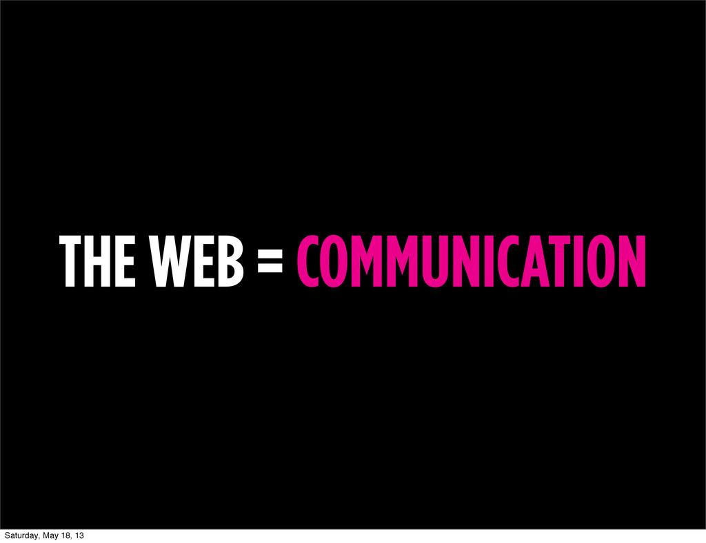 THE WEB = COMMUNICATION Saturday, May 18, 13