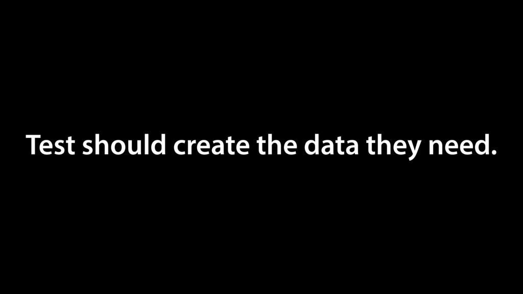 Test should create the data they need.