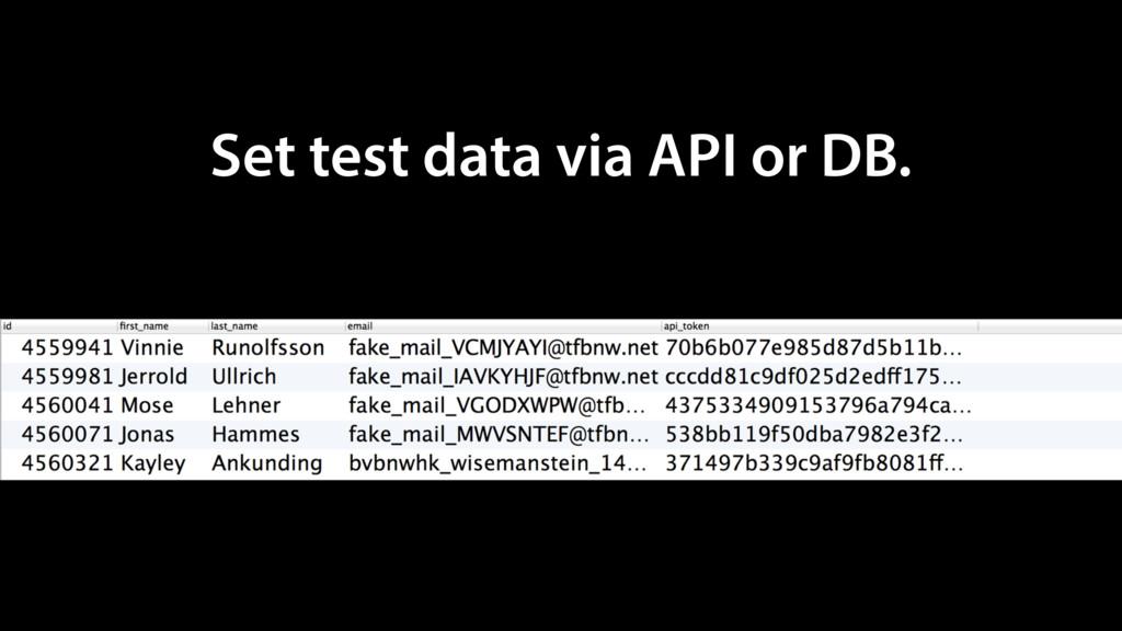 Set test data via API or DB.