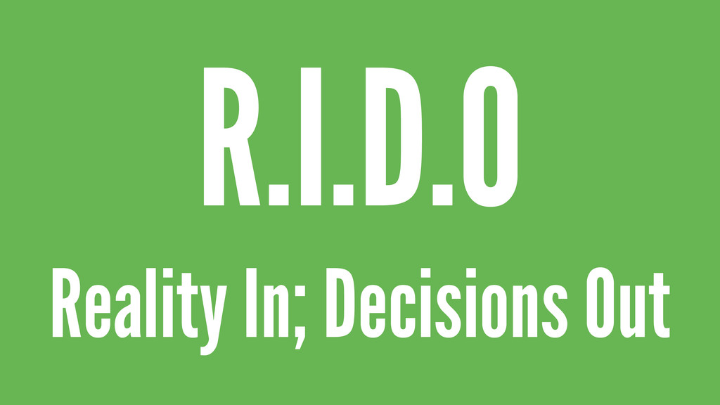 Reality In; Decisions Out R.I.D.O