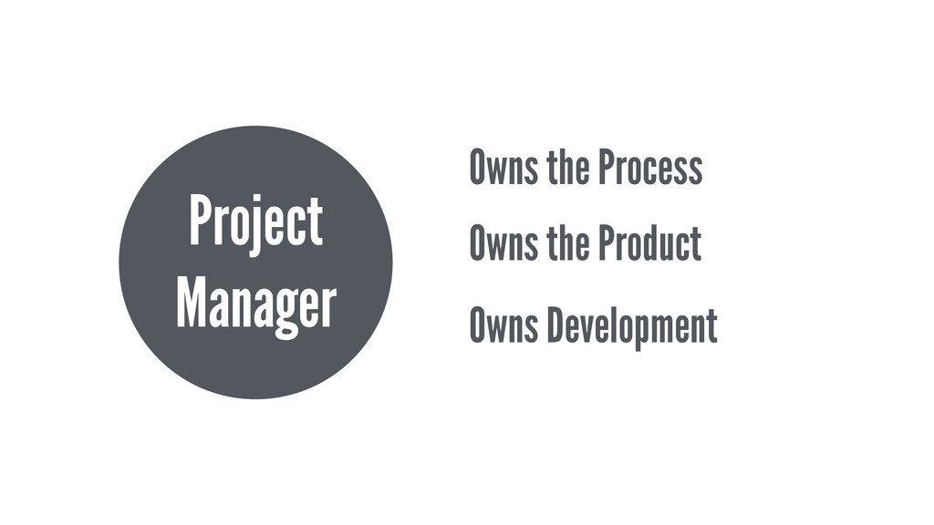 Project Manager Owns the Process Owns the Produ...