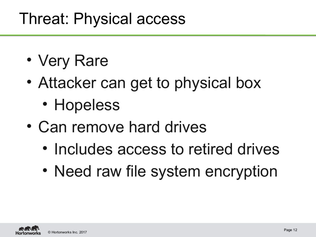 © Hortonworks Inc. 2017 Threat: Physical access...