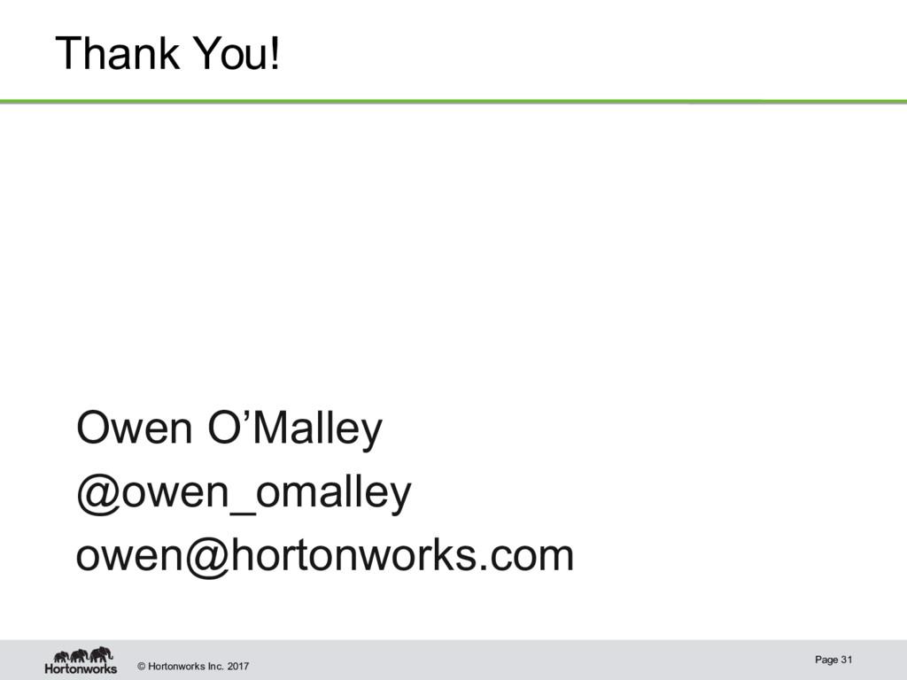 © Hortonworks Inc. 2017 Thank You! Page 31 Owen...