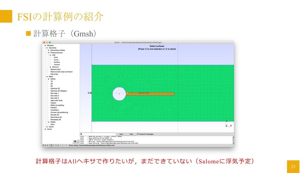 FSIの計算例の紹介 23 n 計算格子(Gmsh) 計算格⼦はAllヘキサで作りたいが,まだ...