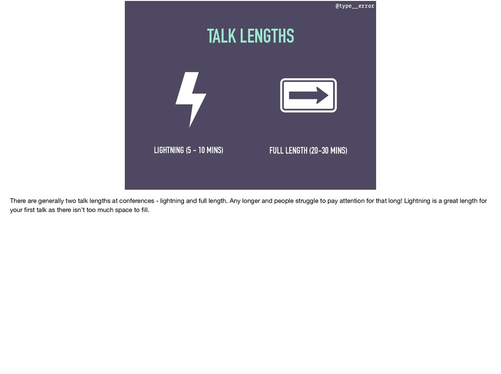 @type__error TALK LENGTHS LIGHTNING (5 - 10 MIN...