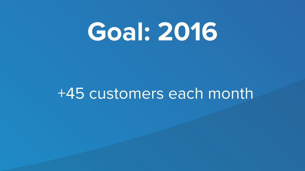Goal: 2016 +45 customers each month