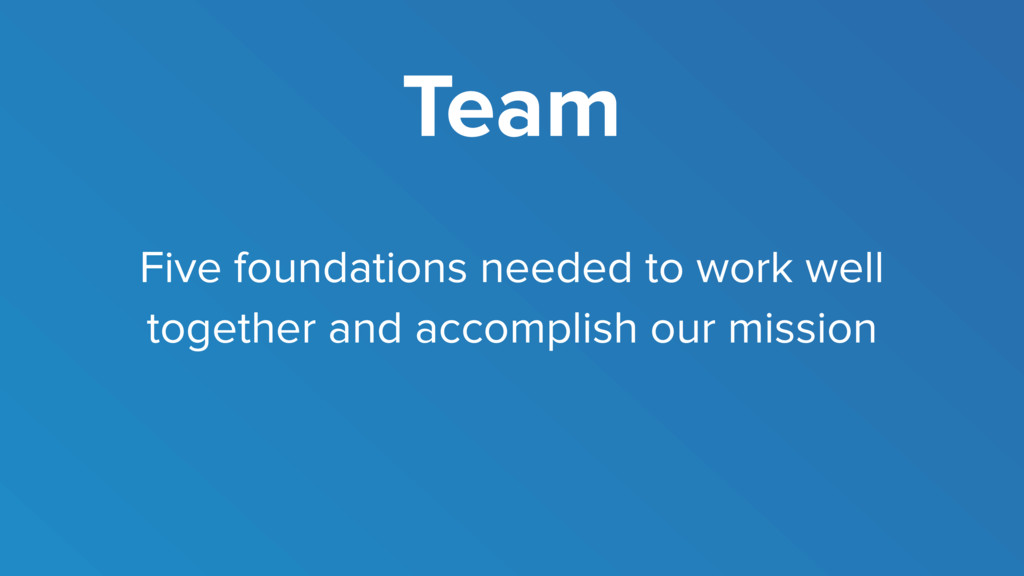 Team Five foundations needed to work well toget...