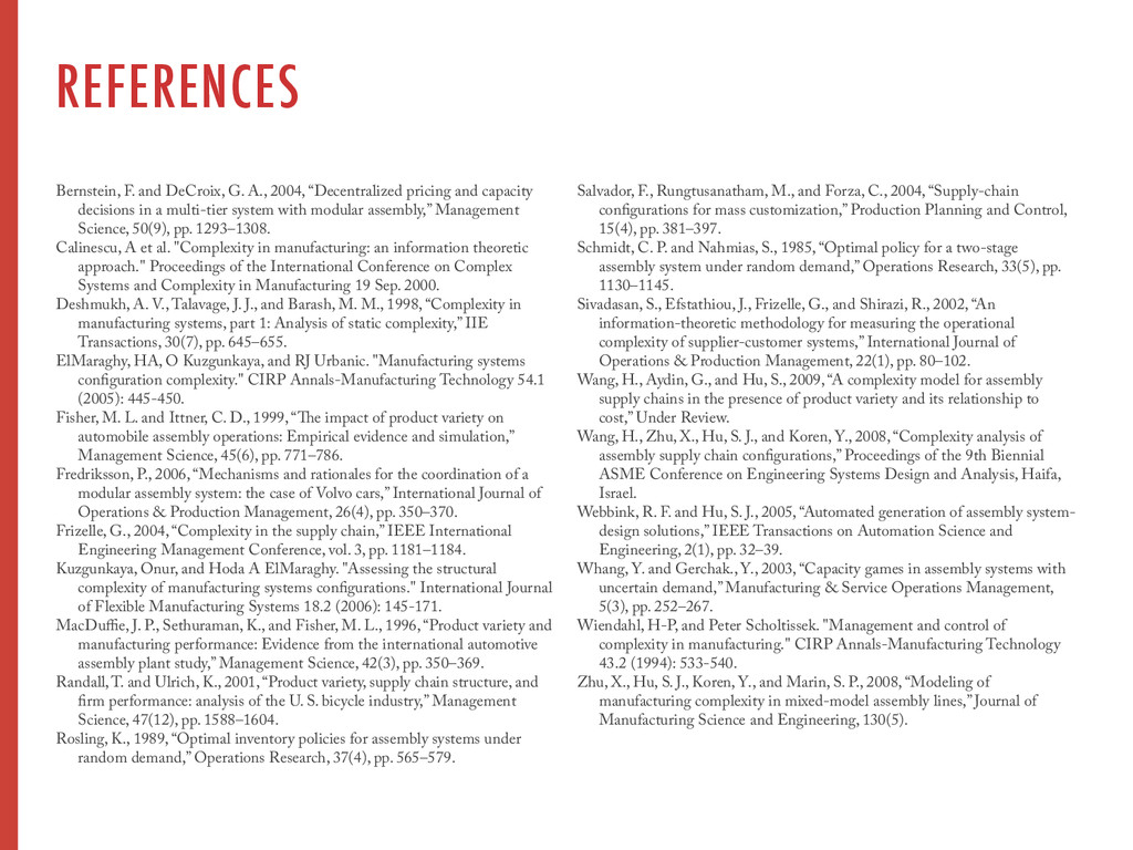 REFERENCES Bernstein, F. and DeCroix, G. A., 20...