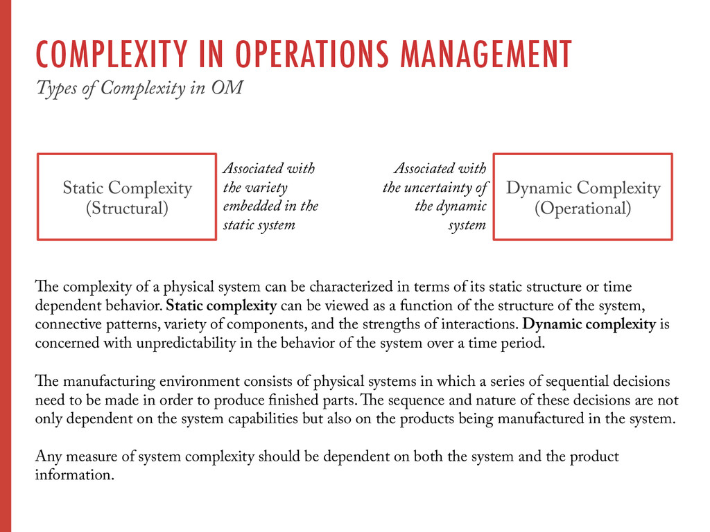 COMPLEXITY IN OPERATIONS MANAGEMENT Types of Co...