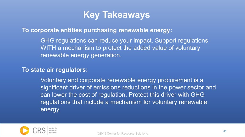 24 To corporate entities purchasing renewable e...