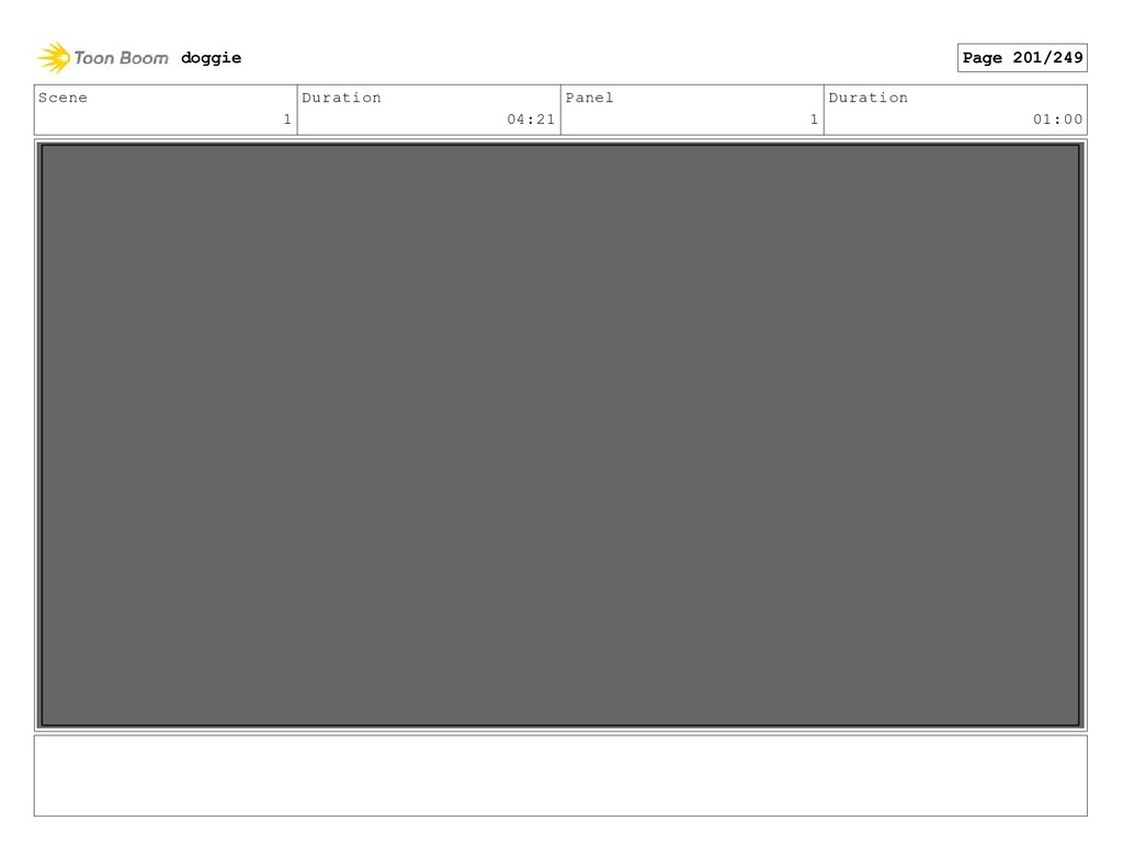 Scene 1 Duration 04:21 Panel 1 Duration 01:00 d...