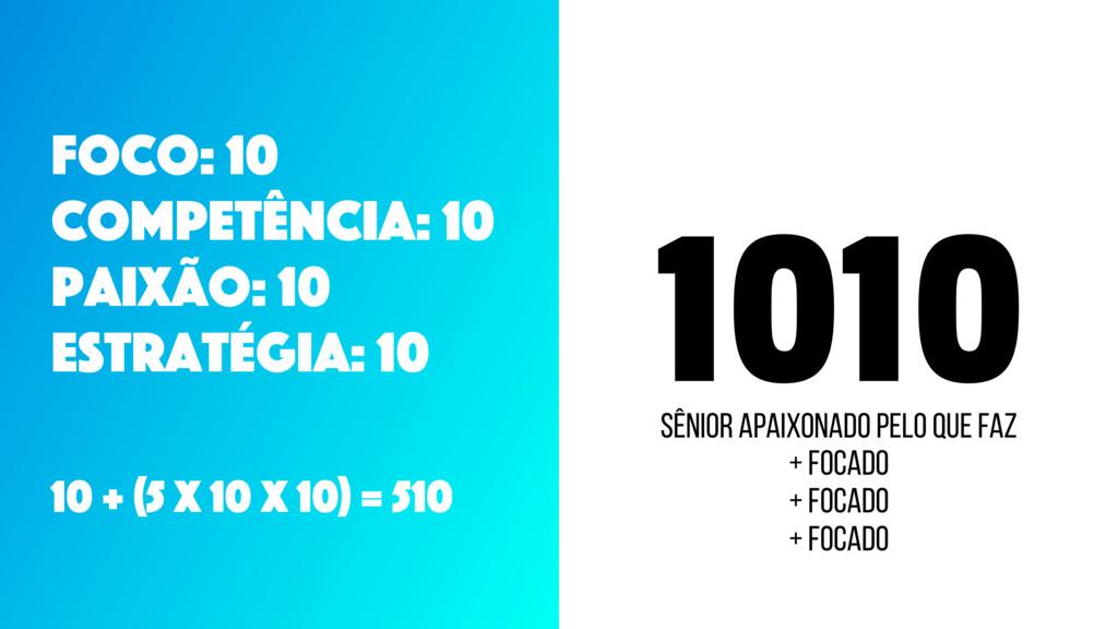1010 Foco: 10 CompetÊncia: 10 Paixão: 10 Estrat...