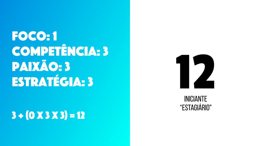 Foco: 1 CompetÊncia: 3 Paixão: 3 Estratégia: 3 ...